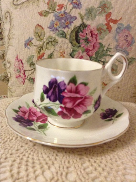 Shabby Chic Royal Dover China Sweet Pea by FrenchCountryGirl