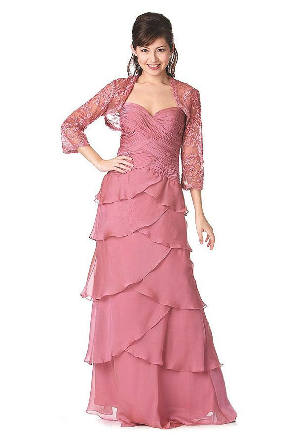 Full length tiered gown made from Yoryu Chiffon with a sweetheart ...