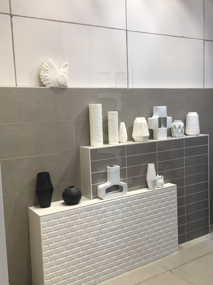 Beton Und Weiß   Sanfte Farbkombination Im Badezimmer #fliesen #beton #weiß  #bodenfliesen
