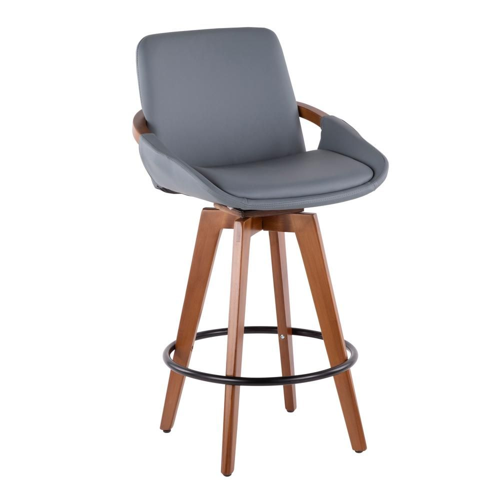 Lumisource Cosmo 26 In Walnut And Grey Faux Leather Counter Stool