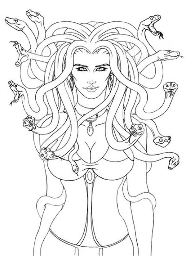 Coloring:Free Medusa Coloring Pages With Printable Greek Gods And ...