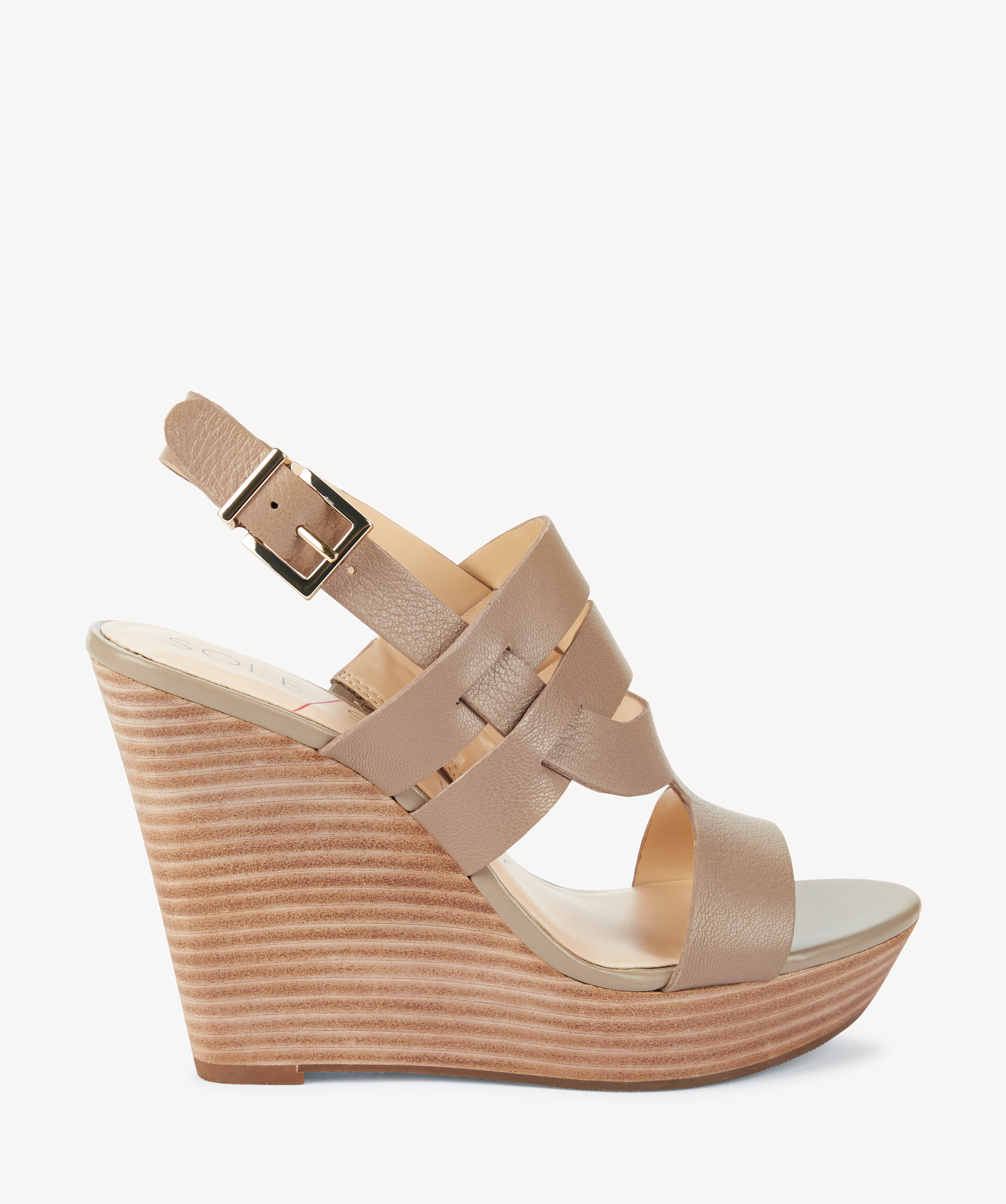649525a15f Sole Society Jenny Platform Wedges Sandals Night Taupe | Size 9.5 Leather