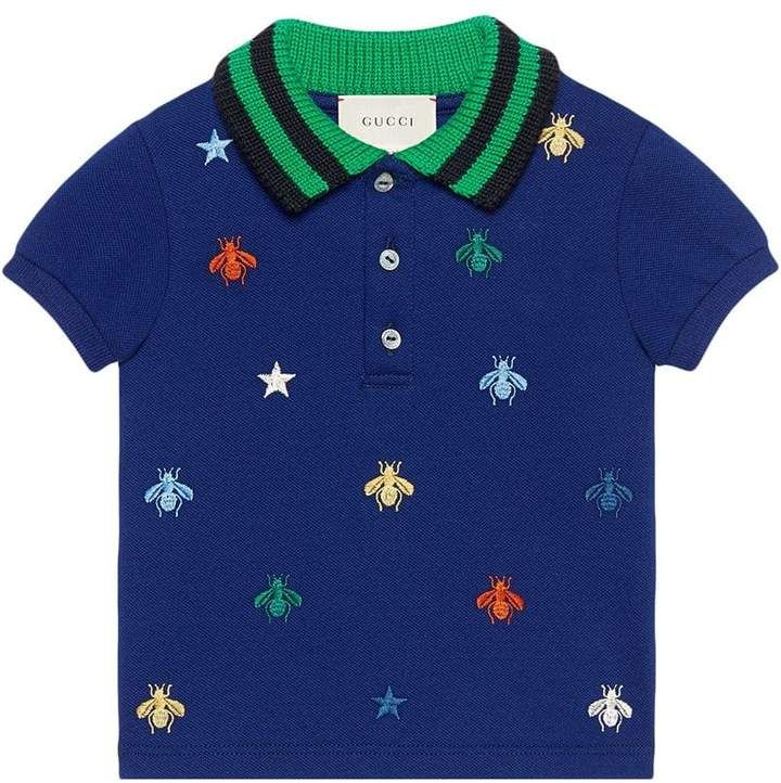 7bce1b156e15 Gucci Kids Baby polo with bees and stars embroidery   Kids fashion ...