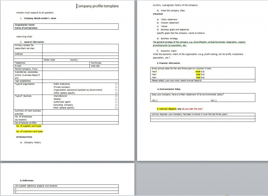 Download Company Profile Template For Business from - business financial statement form