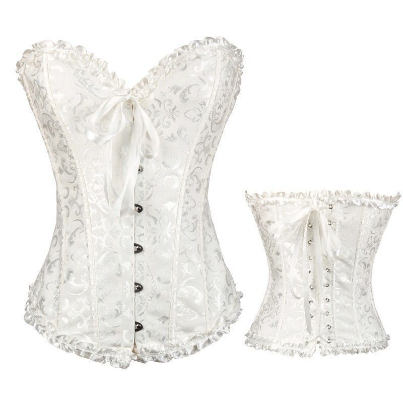 7ebc8214597 New Women s Sexy White Lace up Back Satin Boned Corset Bustier Plus Size