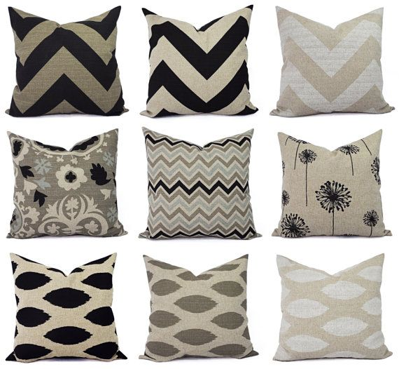 Two Brown Couch Pillow Covers In