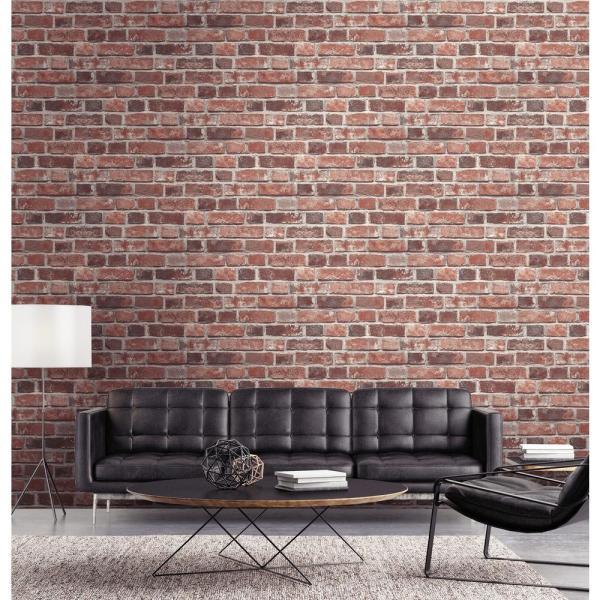 NextWall Distressed Red Brick Peel and Stick Wallpaper ...