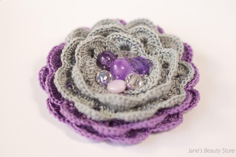 Violet and Grey Crochet Brooch Flower Brooch by JanesBeautyStore