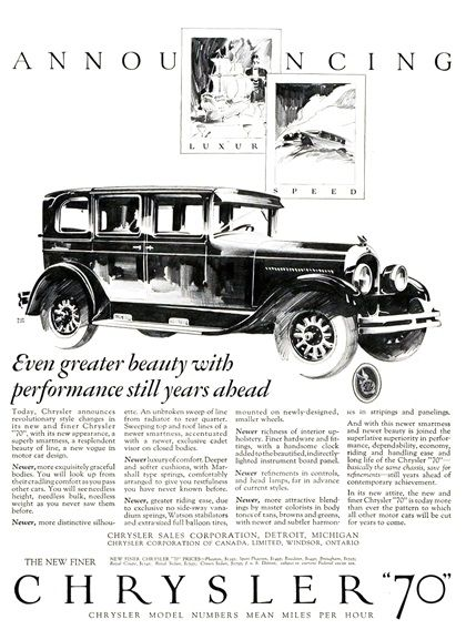 "Chrysler ""70"" Announcing Ad (November, 1926): Luxury & Speed - Illustrated by Fred Cole"