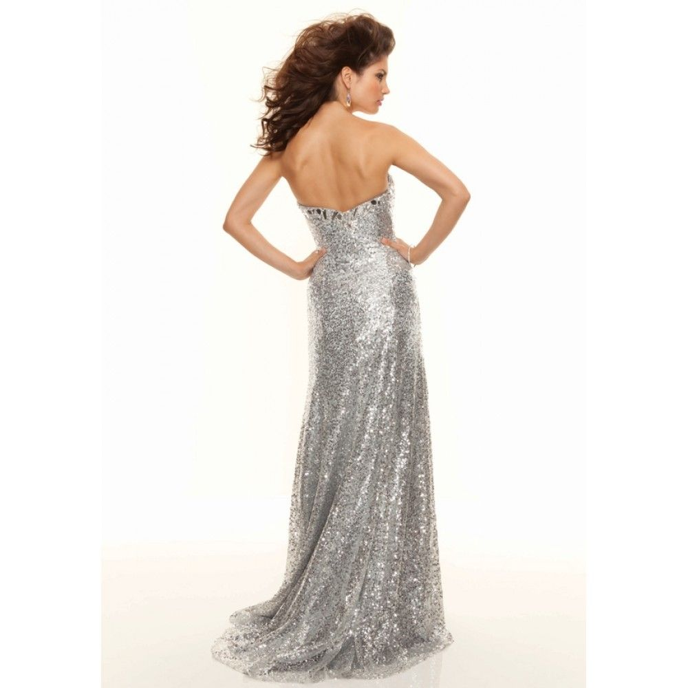 White and Silver Prom Dresses | Line Sweetheart Split Front Sequin ...