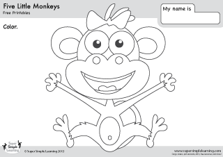 free five little monkeys coloring page from super simple learning tons of free - 5 Little Monkeys Coloring Page