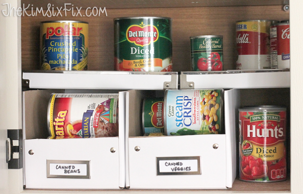 Organizing The Cans In Your Pantry With 50 Cent Photo Boxes Canned Food Storage Canned Good Storage Food Storage Shelves