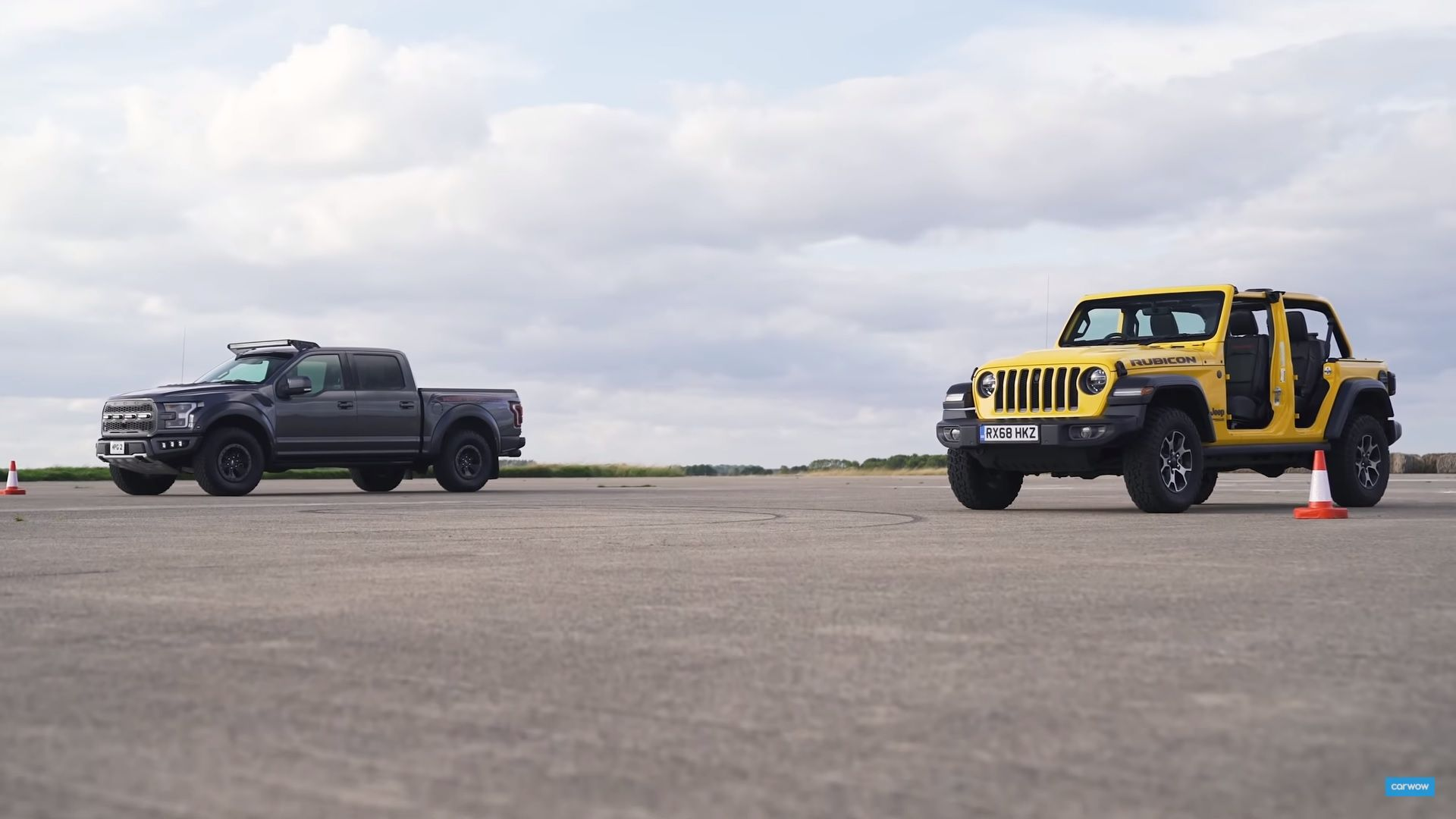 A Modded Ford F 150 Raptor And A Stripped Down Jeep Wrangler Head To The Drag Strip And We Didn T Expect The Top Speed Ford F150 Jeep Ford F150 Raptor