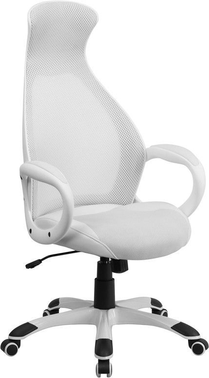 high back white mesh executive swivel office chair with leather seat