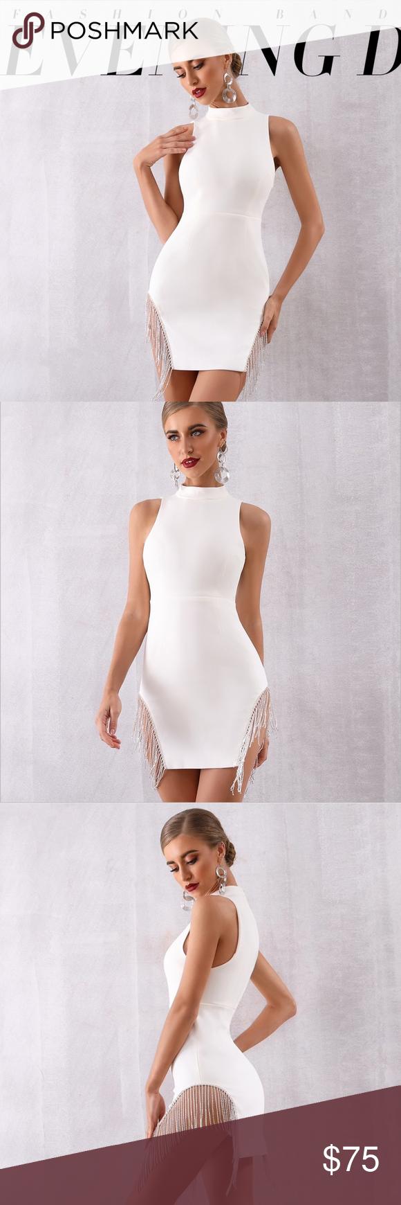 Rhinestone Fringe Detail High Neck White Dress Party Dress Shopping White Short Dress Dresses [ 1740 x 580 Pixel ]