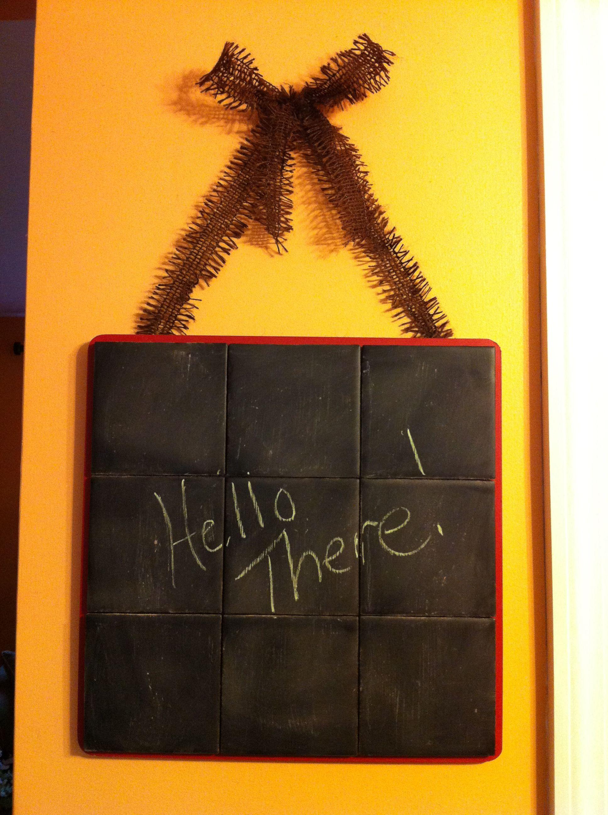 Kitchen tile chalkboard.