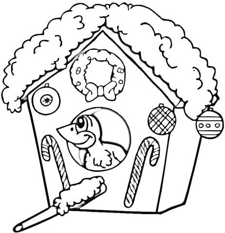 Christmas Birdhouse Coloring Page