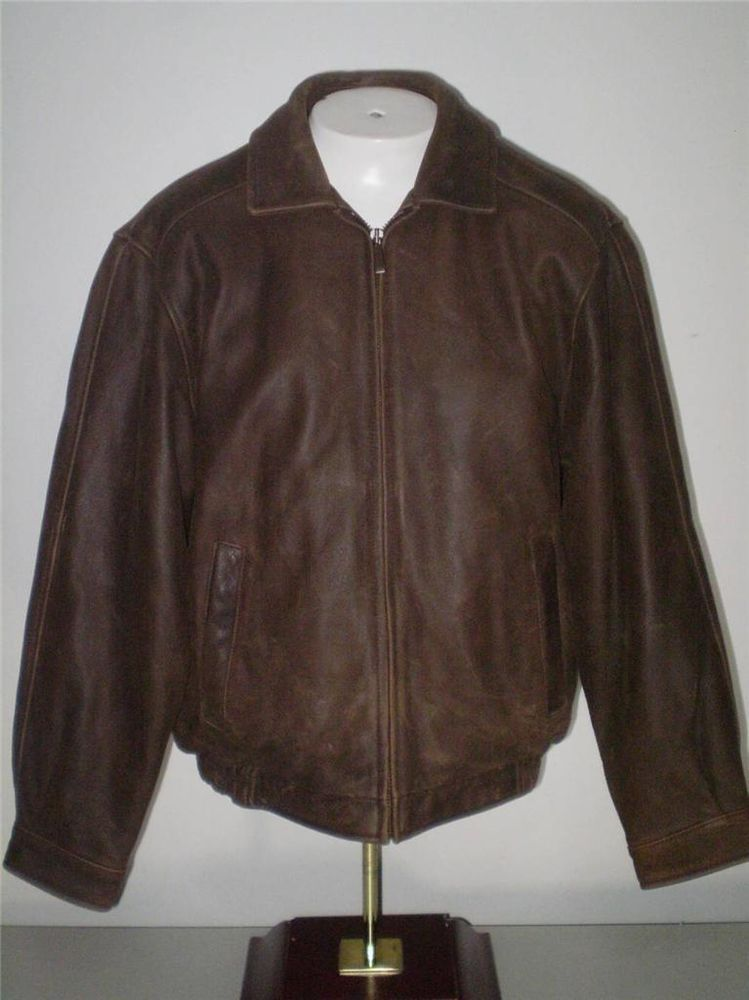 0289a6858 Mens Croft And Barrow Leather Bomber Flight Jacket Brown M ...