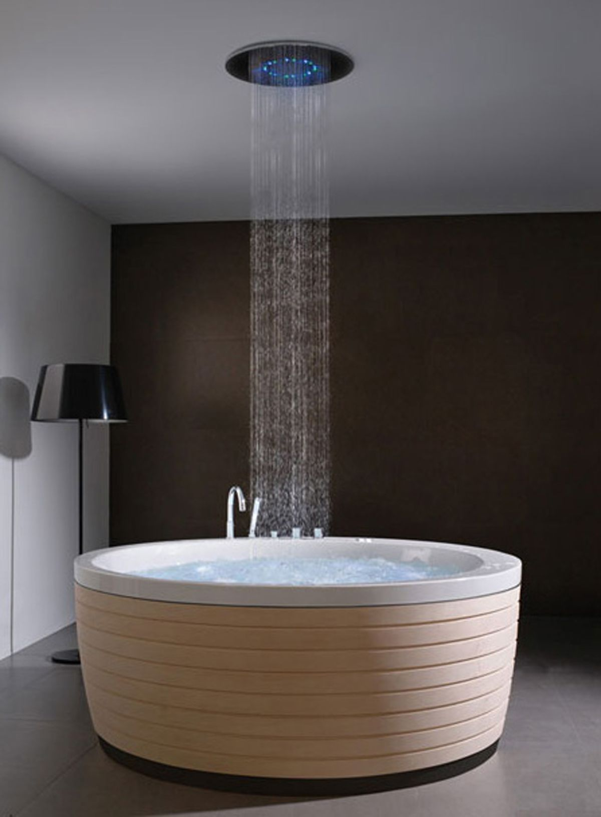 Modern Greek Soaking Tubs With Ceiling Shower Head With Blue Light