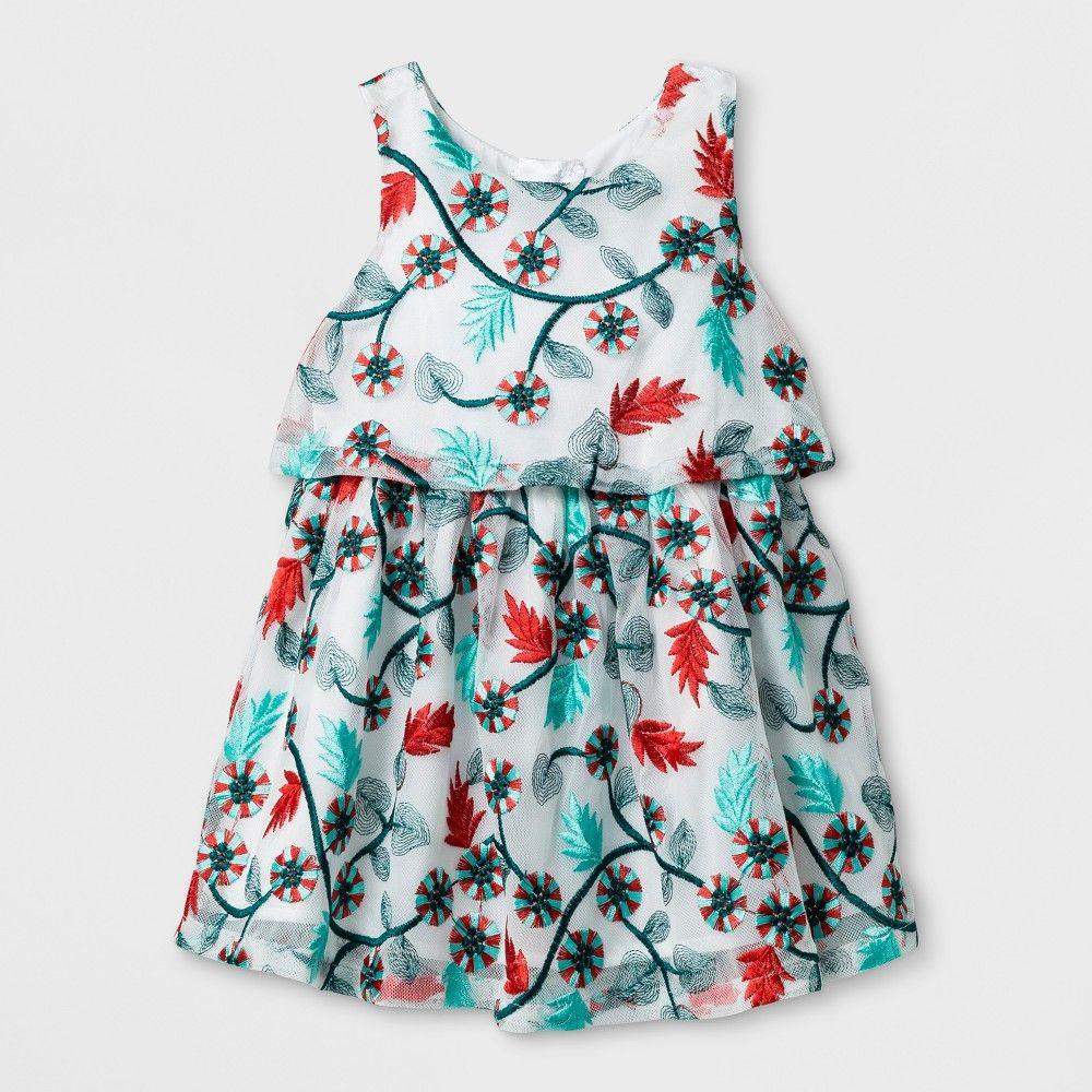 6e560859456a Toddler Girls' Embroidered Mesh Dress - Genuine Kids from OshKosh Almond  Cream 4T, White