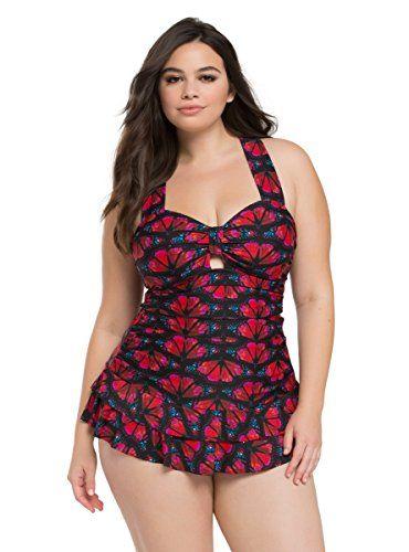 b8371808f96 Fashion Bug Plus Size  Plus Size Swimsuit  Butterfly One Piece Flounce   Skirt  Swimsuit www.fashionbug.us  PlusSize  FashionBug  bathingsuit   swimsuit