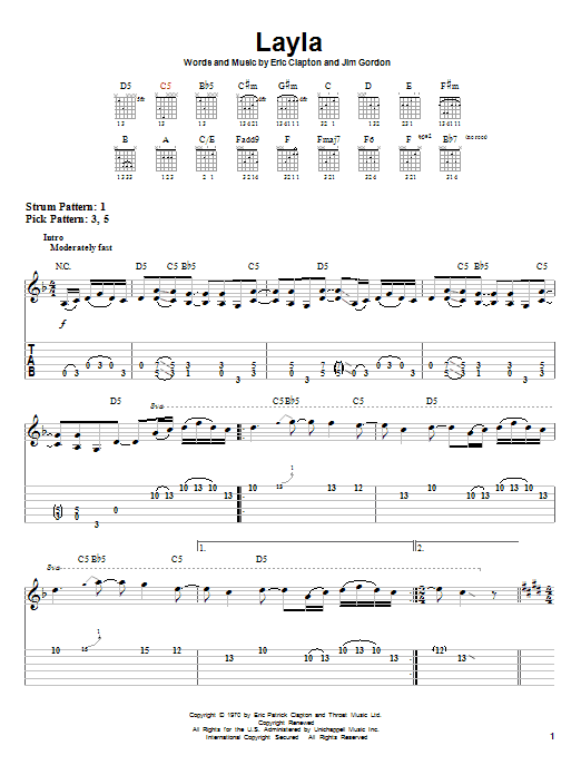 Electric Guitar Chords Layla : eric clapton 39 layla 39 sheet music notes chords download printable easy guitar tab sku 30066 ~ Hamham.info Haus und Dekorationen