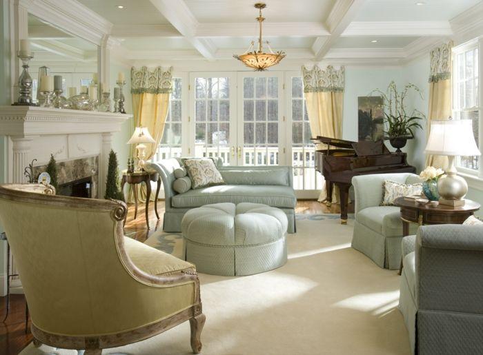 landhausstil wohnzimmer hellgrüne möbel heller teppich französischer - Gardinen Landhausstil Wohnzimmer