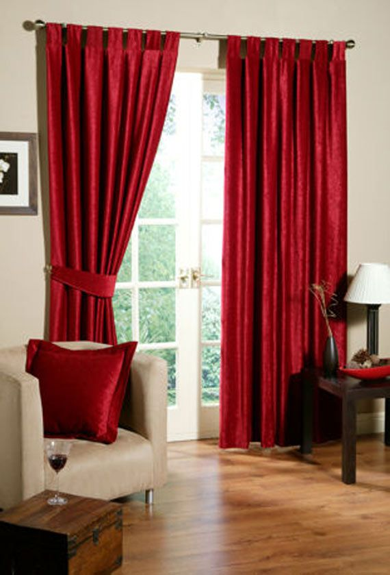 Brown Living Room With Red Curtains