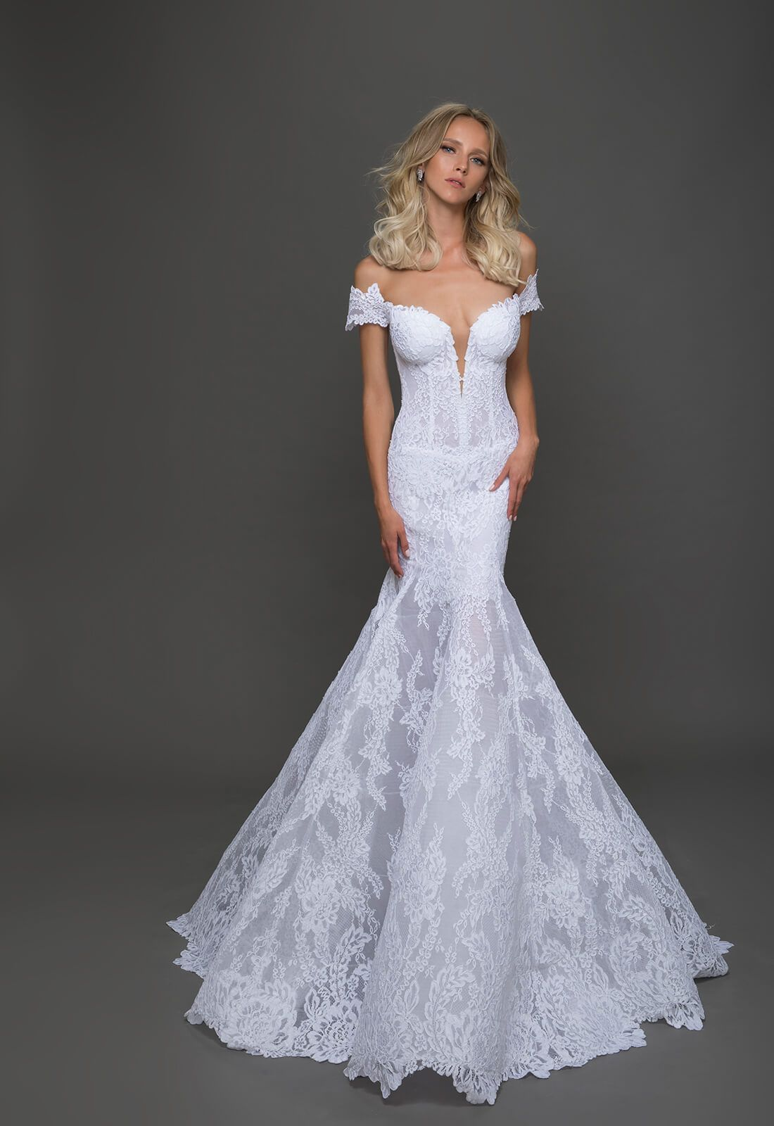 Lace fit and flare gown with sheer corset bodice, off the shoulder ...
