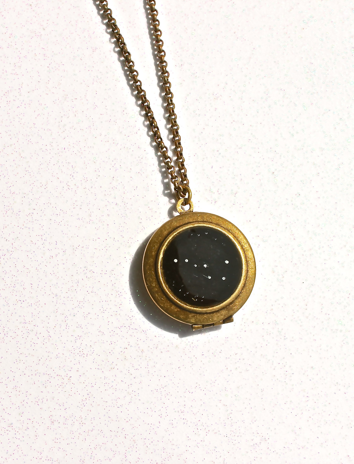 Big dipper constellation necklace locket hand painted jewelry unique