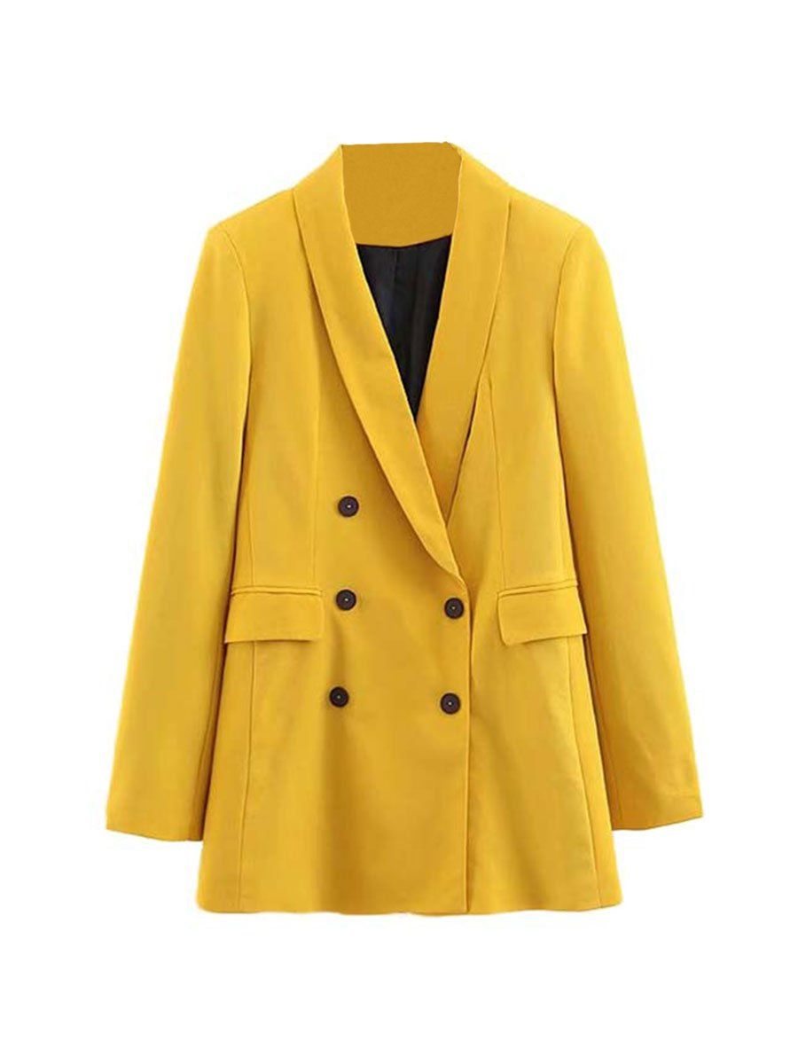 Chic Blazer Casual Double Breasted Long Sleeve Solid Outerwear Yellow M In 2021 Yellow Blazer Coats Jackets Women Casual Outerwear [ 1200 x 900 Pixel ]