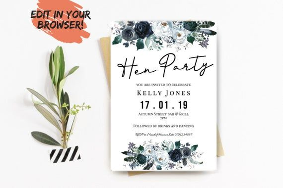 Printable Blue Floral Hen Party Invitation Template | Bridal shower invite with blue peony roses | I #bluepeonies