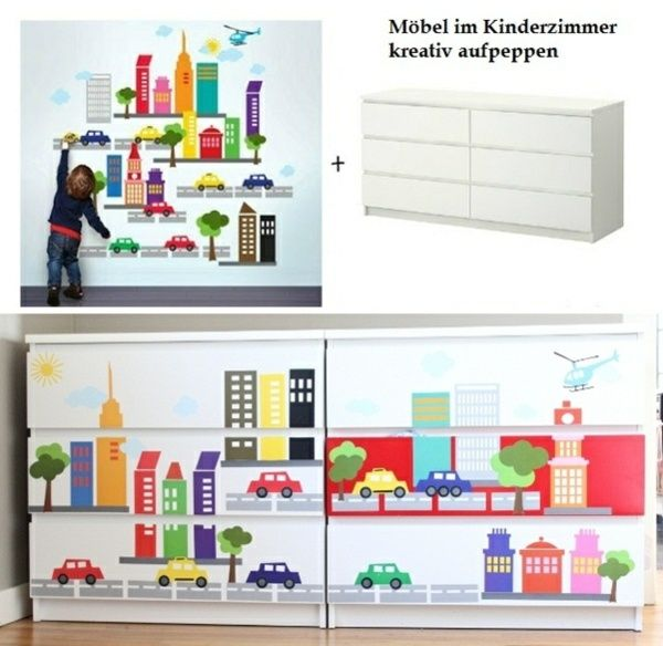Kinderzimmer Ikea Ideen wickelkommode wandtattoo deko ideen kinderzimmer ikea hacks
