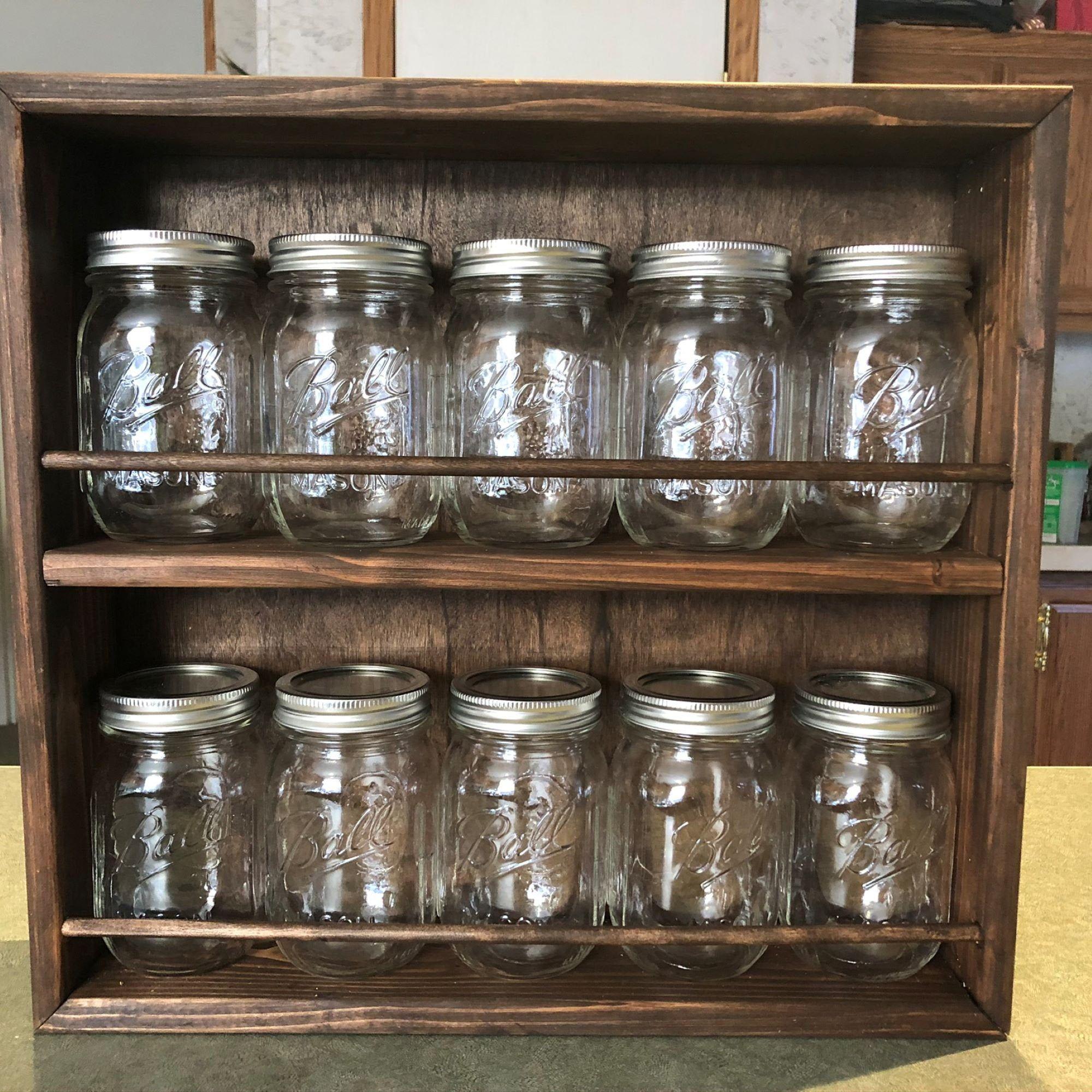 10 Jar Spice Rack 16oz Mason Jar Spice Rack Spice Jar Rack Etsy In 2020 Mason Jar Shelf Mason Jar Storage Mason Jar Kitchen