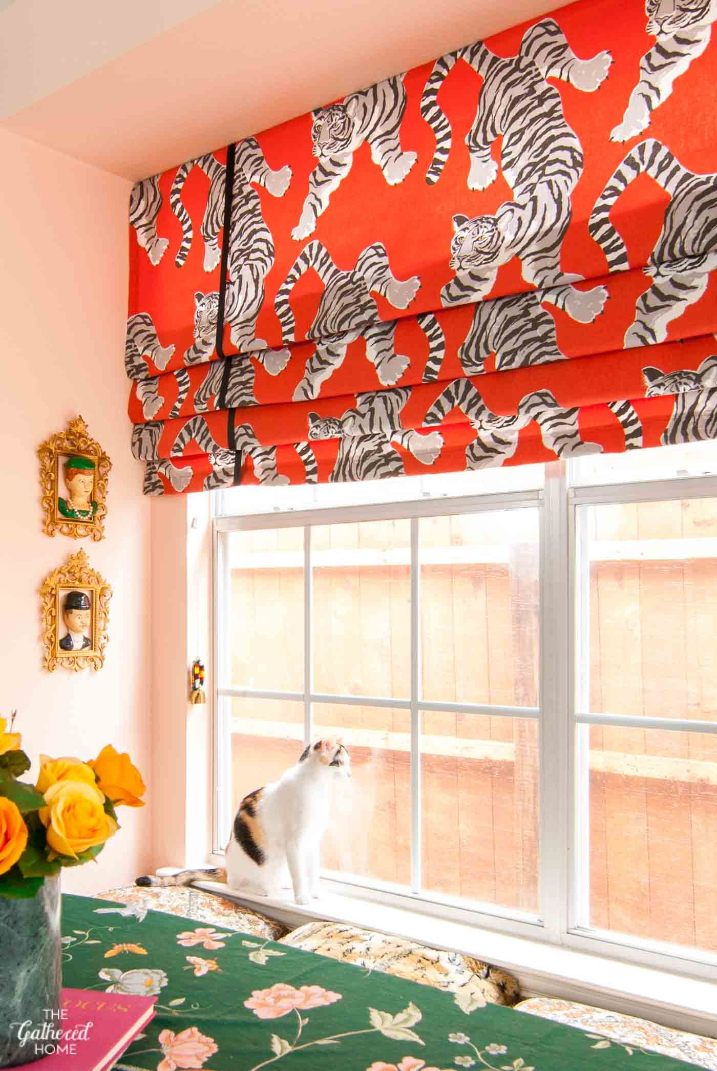 DIY faux Roman shade in a kitchen window seat - The Gathered Home