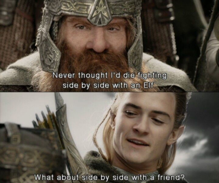428bb348d00be3ca08e576412f552d12 you go legolas and gimli!! destroy that belief that dwarves and