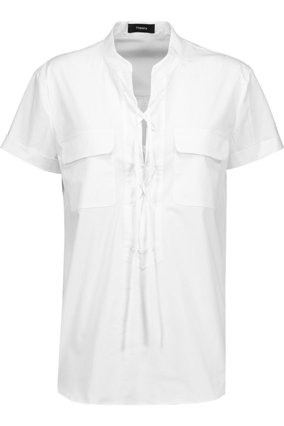 Shop on-sale Theory Idellea lace-up stretch-cotton poplin top. Browse