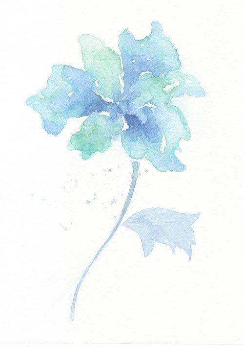 Flower, flower print, art, abstract painting, Watercolor, Blue, Flower ----Original abstract watercolor giclee art print 6x8 via Etsy