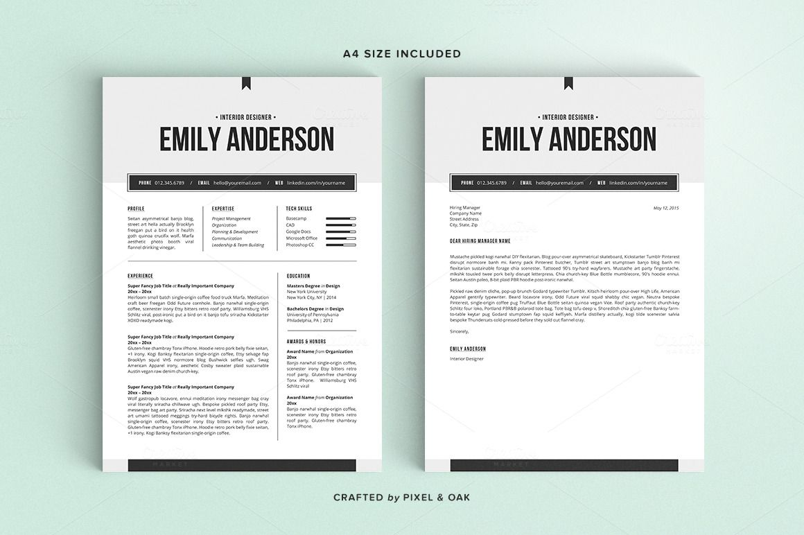Resume Template | The Emily 2pk by Pixel & Oak on Creative Market ...