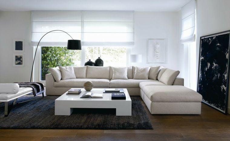 Saloni moderni e un\'idea di arredamento con divano bianco di pelle e ...