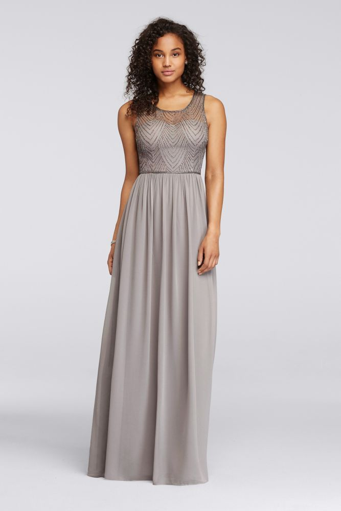 85b3cc4325c5 Novelty Long Bridesmaid Dress with Illusion Sweetheart Beaded Bodice -  Mercury (Silver), 22