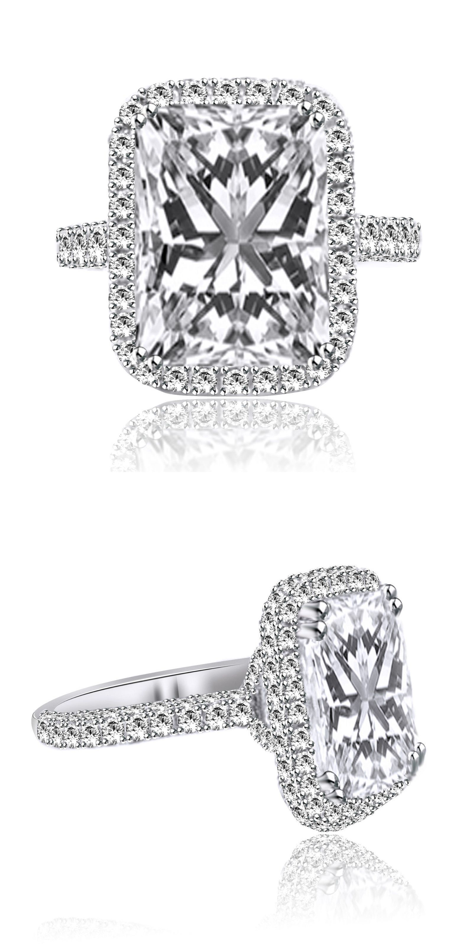 Cz moissanite and simulated ct radiant cut diamond