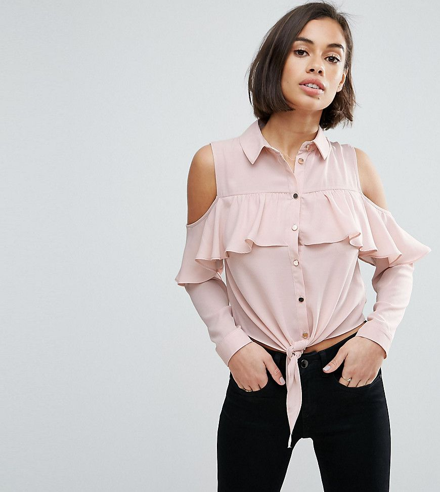 f5cc0351d5378 Miss Selfridge Petite Cold Shoulder Frill Dobby Shirt - Pink ...