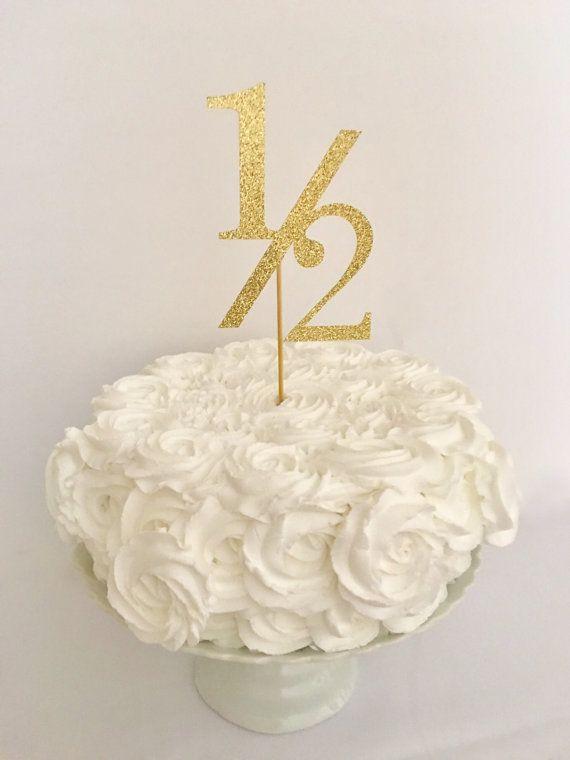 1 2 Birthday Gold Glitter Cake Topper Half Banner
