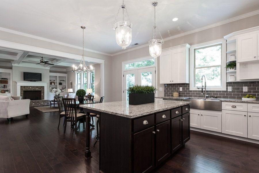 traditional great room with standard height transom