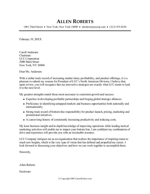 Cover Letter Format Creating Executive Samples Job Templates Free