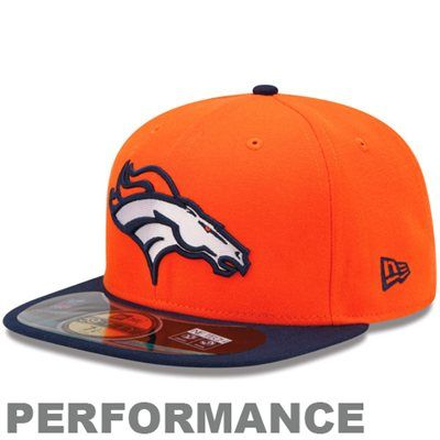 pretty nice c6943 56e2a New Era Denver Broncos 2013 On-Field Player Sideline Performance 59FIFTY  Fitted Hat - Orange Navy Blue