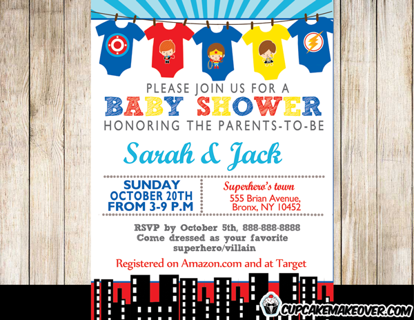 Printable Baby Superhero Jumpsuits Invitation For Boys Or Girls. This  Personalized Superbaby Onesies Baby Shower