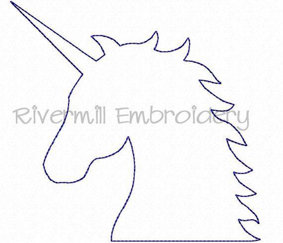 Unicorn Head Raggy Applique Machine Embroidery Design 4 Etsy Unicorn Stencil Unicorn Head Unicorn Outline