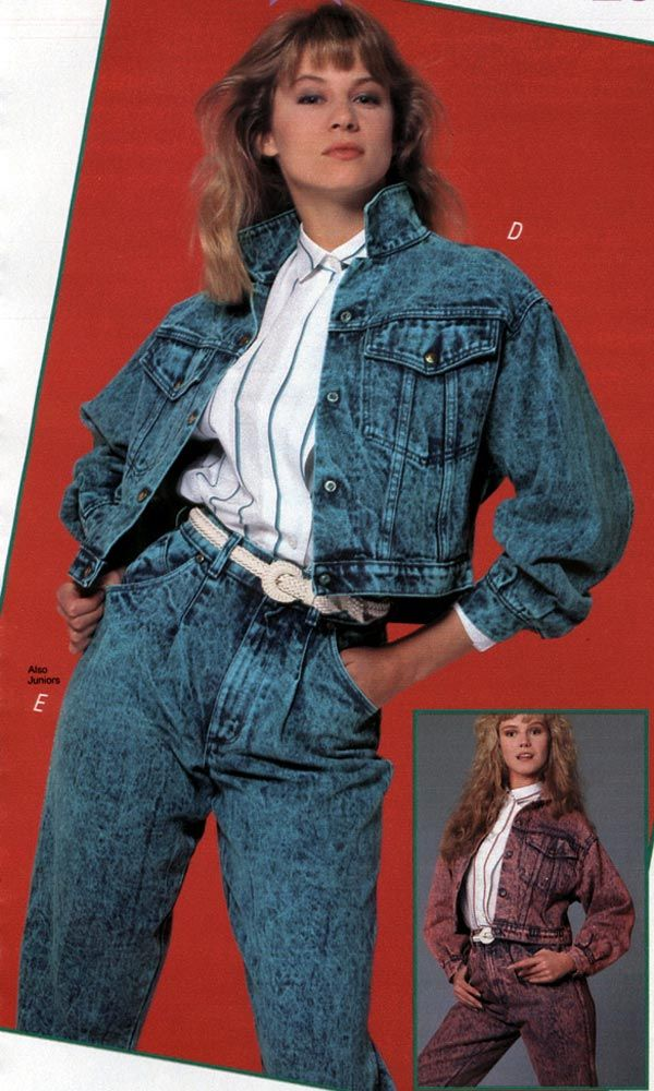 stone washed denim jacket and pants from a 1988 catalog